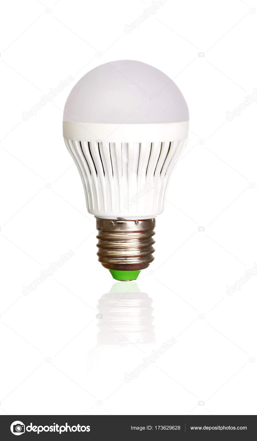 Led Light Bulb Isolated White Background Idea Symbol — Stock Photo ...