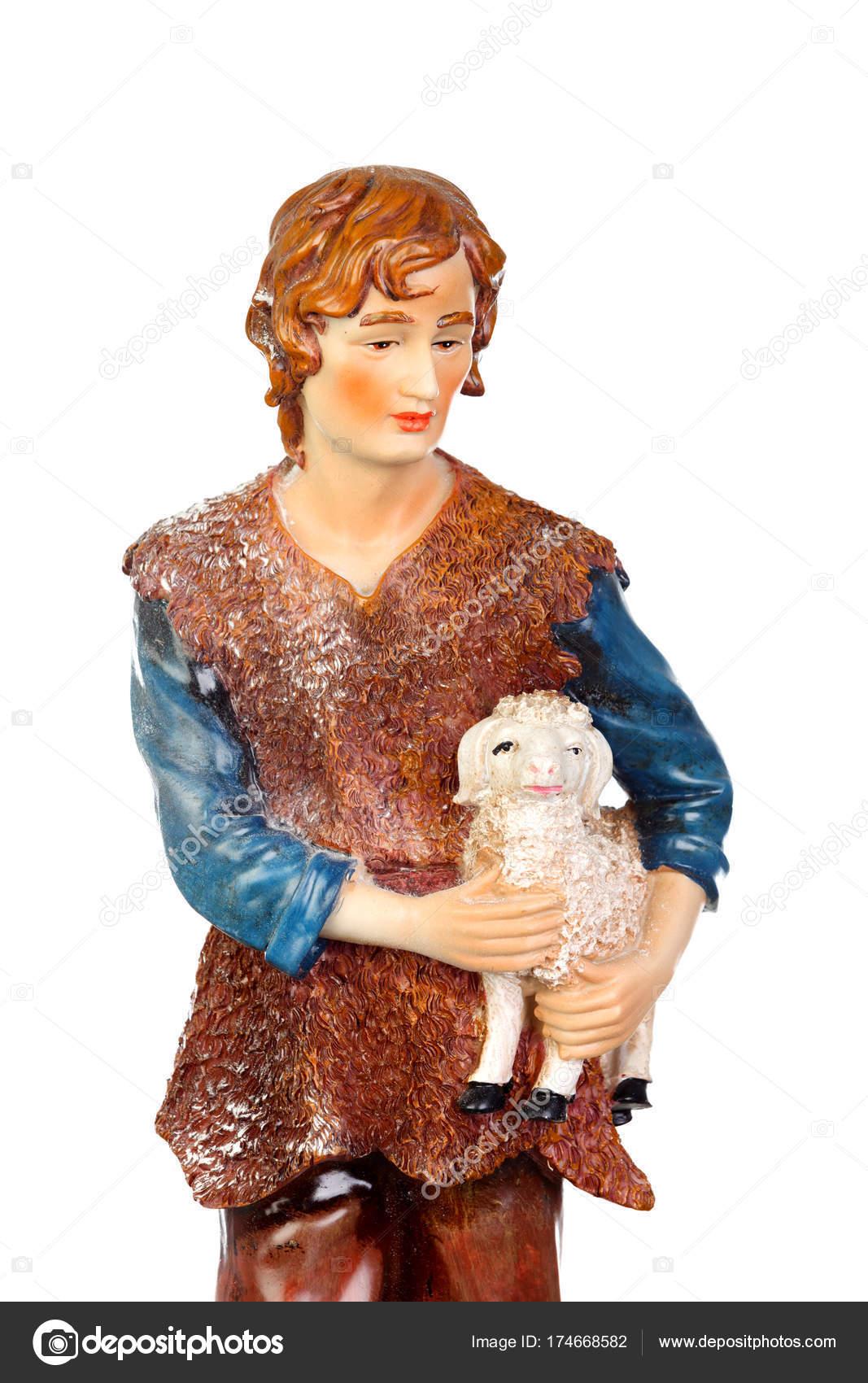 4ac4985344f figura de pastor con cordero — Fotos de Stock © Gelpi  174668582
