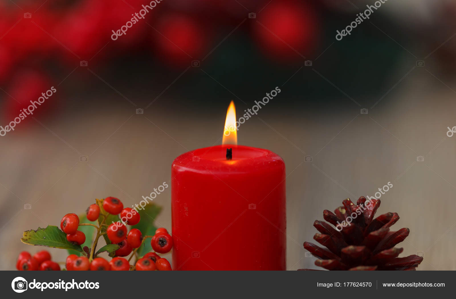b16d5cd4ab79 Burning Red Christmas Candle Pine Cone Berries Beautiful Holiday ...