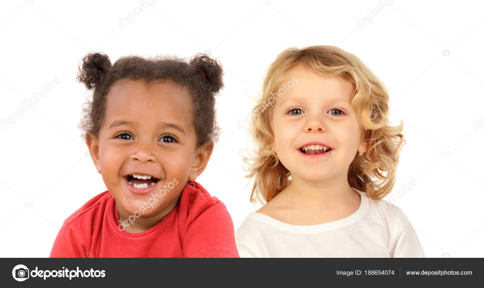 two happy cute children posing isolated white background — stock