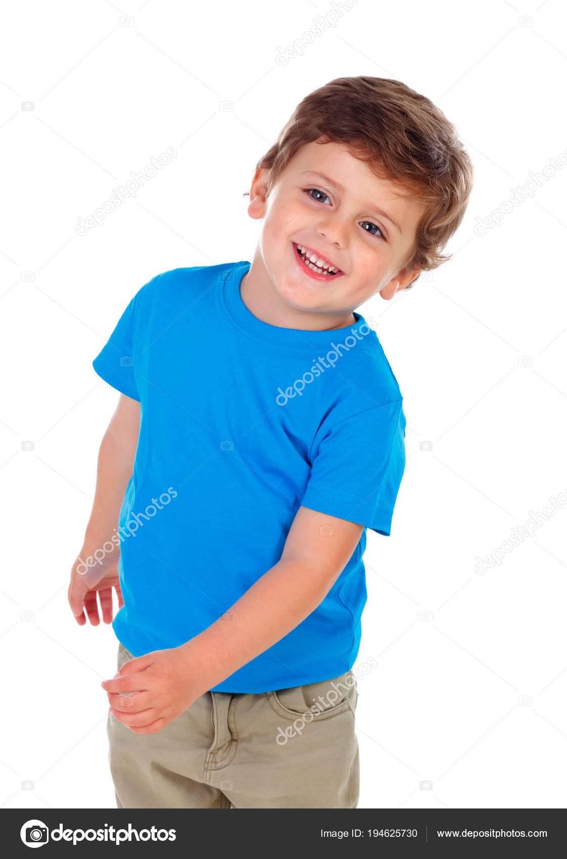 04df5fb7de74 Active Little Boy Blue Shirt Isolated White Background — Stock Photo ...