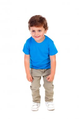 Active little boy in blue t-shirt isolated over white background stock vector