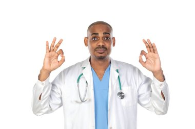 African doctor isolated on a white backgroung