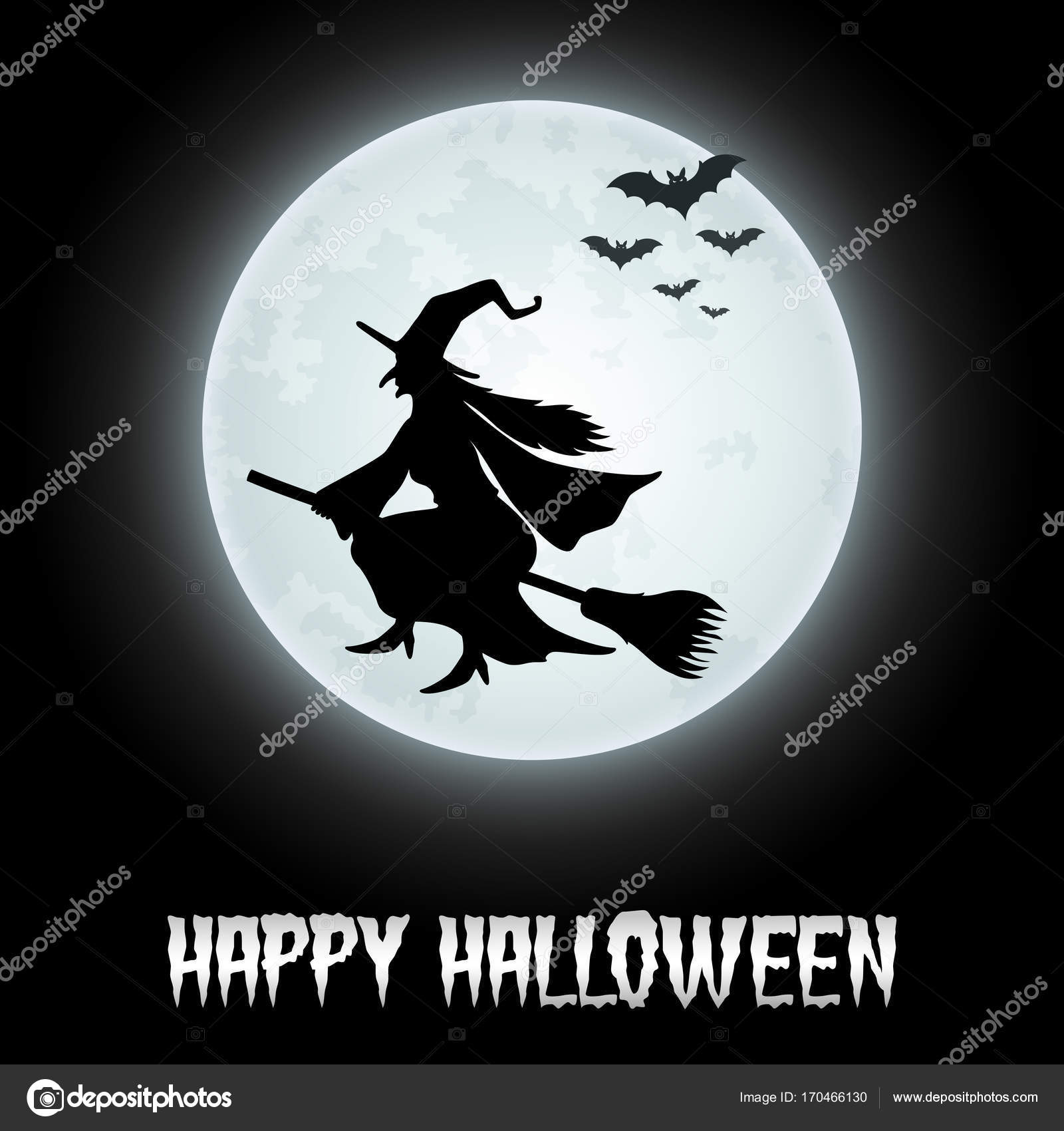 halloween background with flying witch on the full moon stock vector