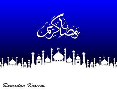 Ramadan kareem with silhouette mosque