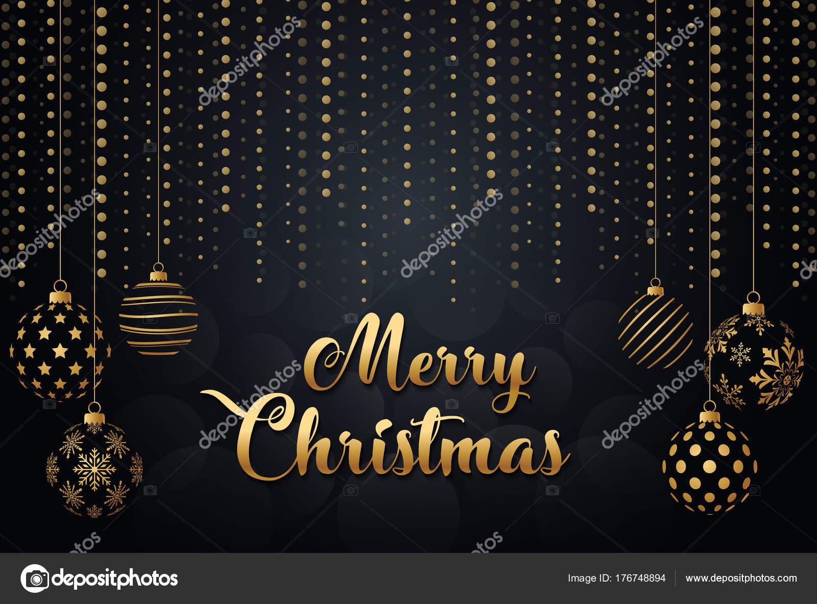 Auguri Di Buon Natale Yahoo.Buon Natale Oro Nero Collors Posto Palle Natale Testo Vettoriali