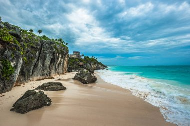 White sand beach and ruins of Tulum