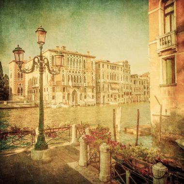 Vintage image of Grand Canal, Venice stock vector