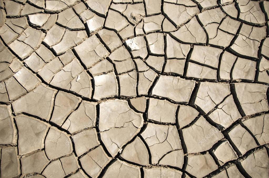 Top view of Cracked soil of desert