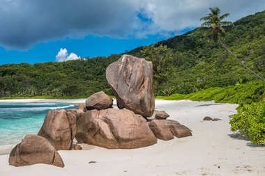 Tropical beach on La Digue island