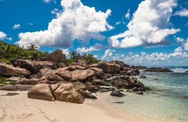 Tropical beach on La Digue island, Seychelles.