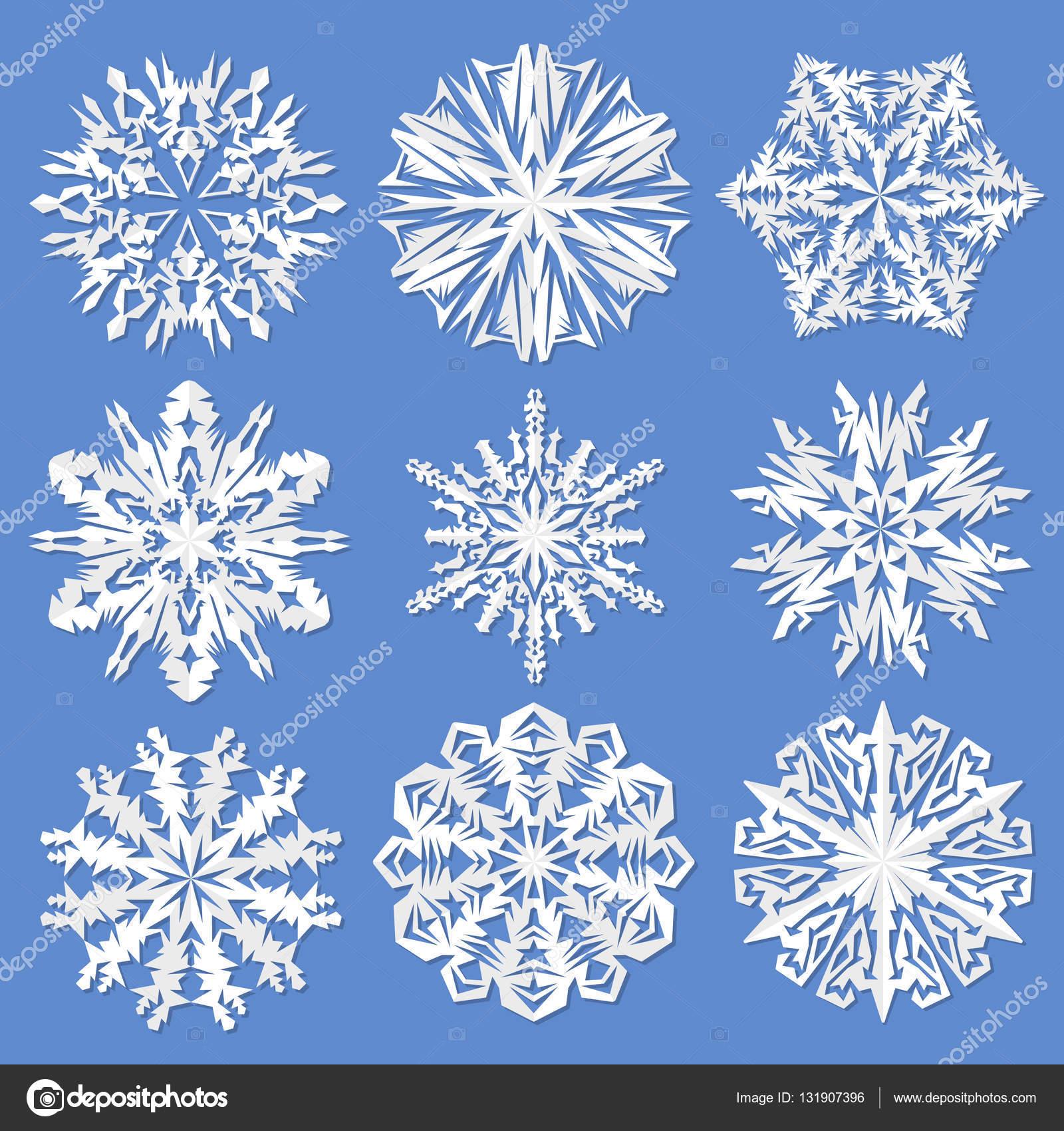 Papier Schneeflocken Eingestellt Von Vektor Illustration