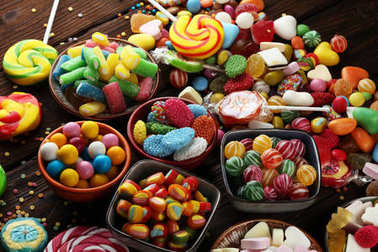 candies with jelly and sugar. colorful array of different childs