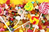 Photo candies with jelly and sugar. colorful array of different childs