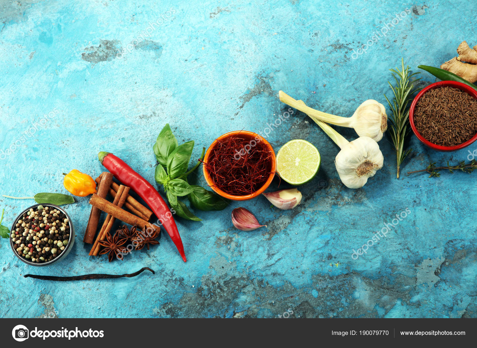 Spices and herbs on table. Food and cuisine ingredients. — Stock ...