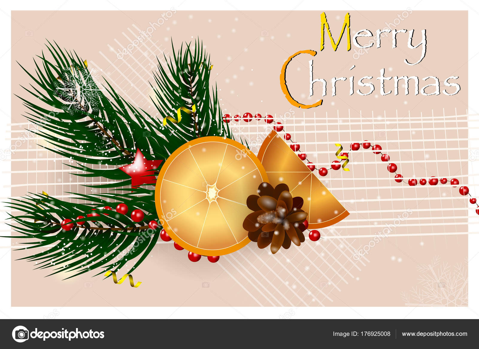 Festive Christmas Design Template With Fir Tree Branch Orange Fir
