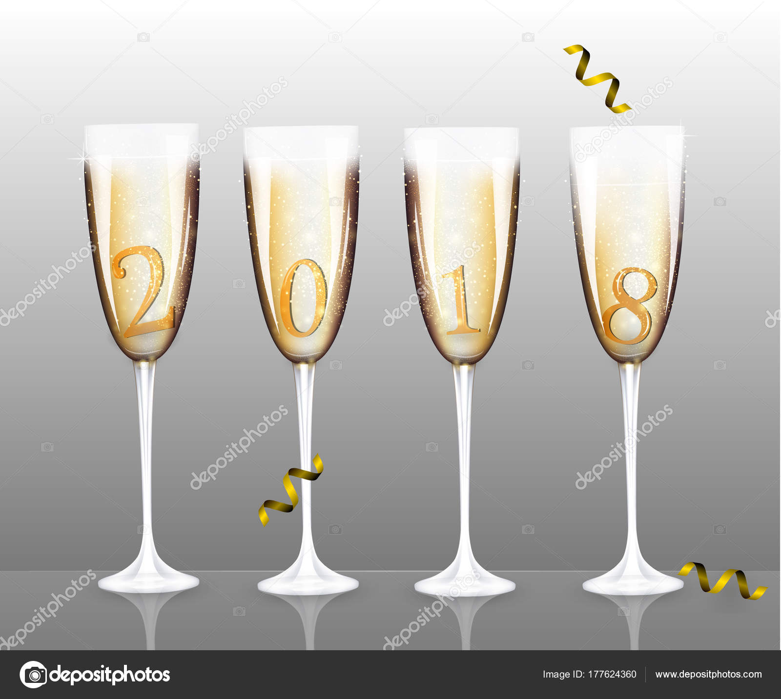 vector new year banner with four different isolated champagne glasses for christmas design template