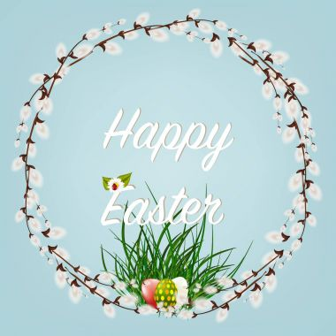 Happy Easter . Easter Wreaths with Willow Branches with flowers and eggs.
