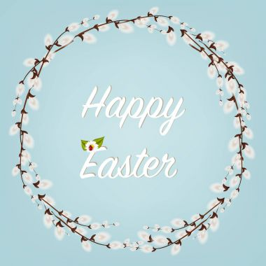 Happy Easter . Easter Wreaths with Willow Branches with flowers and eggs. Holidays decoration on white background.