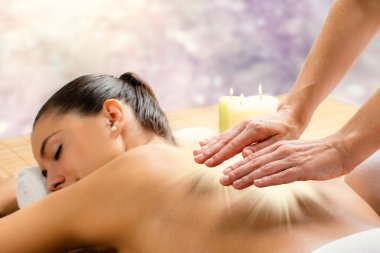 Conceptual reiki healing session.