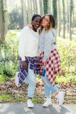 Teen girls in woods