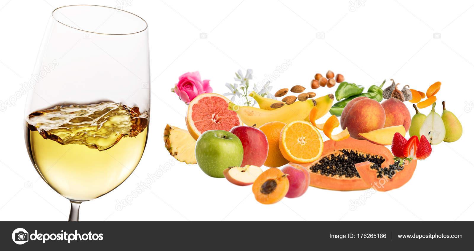Blanco Vino Cristal Con Efecto Movimiento Varios Productos Frutas