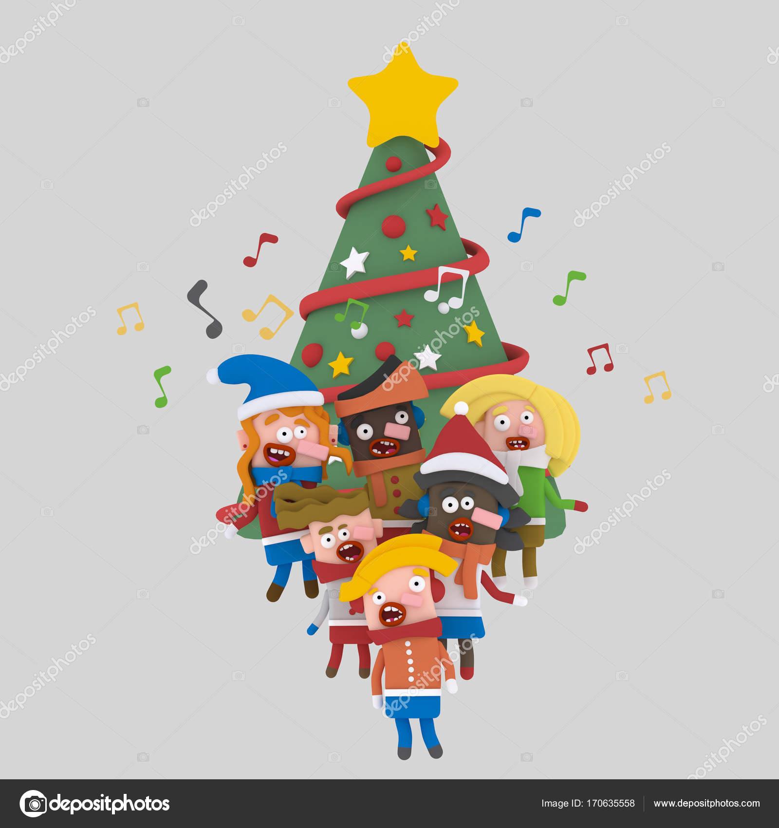 Kinder singen Weihnachten Lieder vor einem Xmas tree.3d Abbildung ...