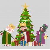 Három királyok Magic és a karácsony tree.3d illusztráció