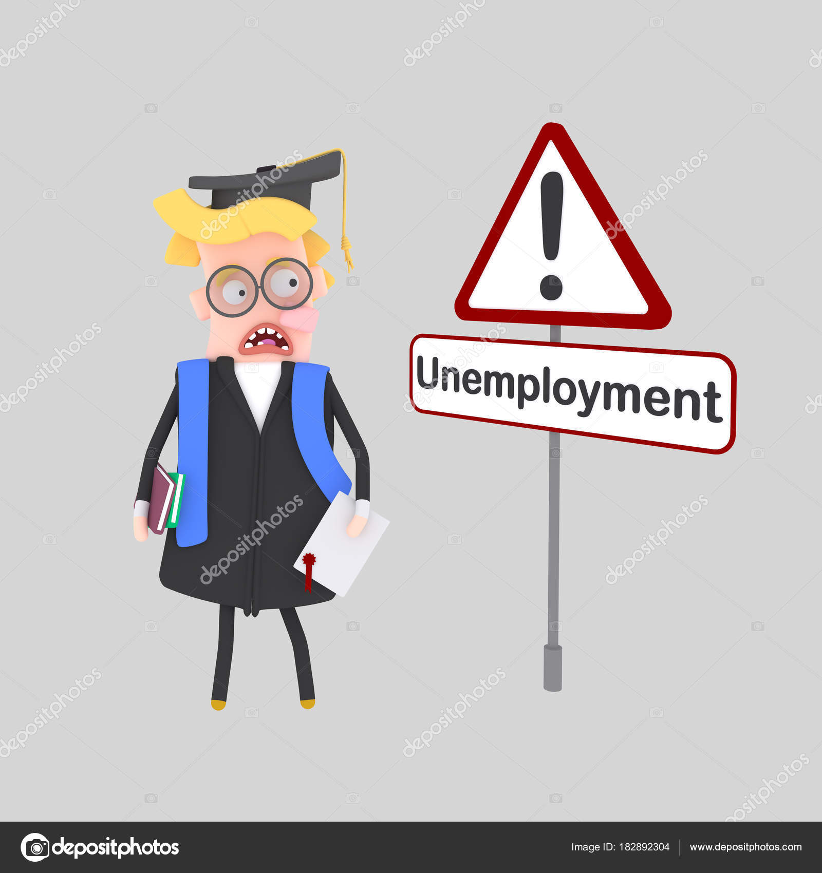 Graduate Worried Boy Looking Job Illustration Stock Photo