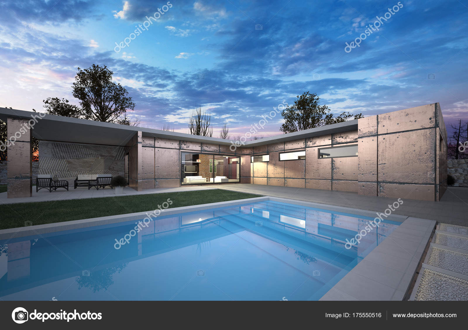 Luxus Modern Ein Grosses Haus Mit Form Und Schwimmen Poolluxury