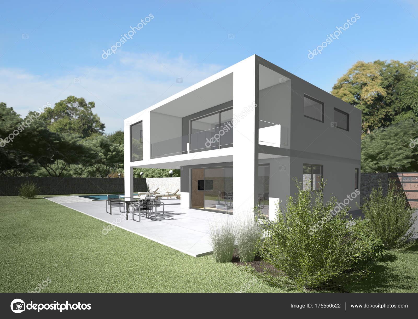 Moderne villa mit terrasse und garten klares design und