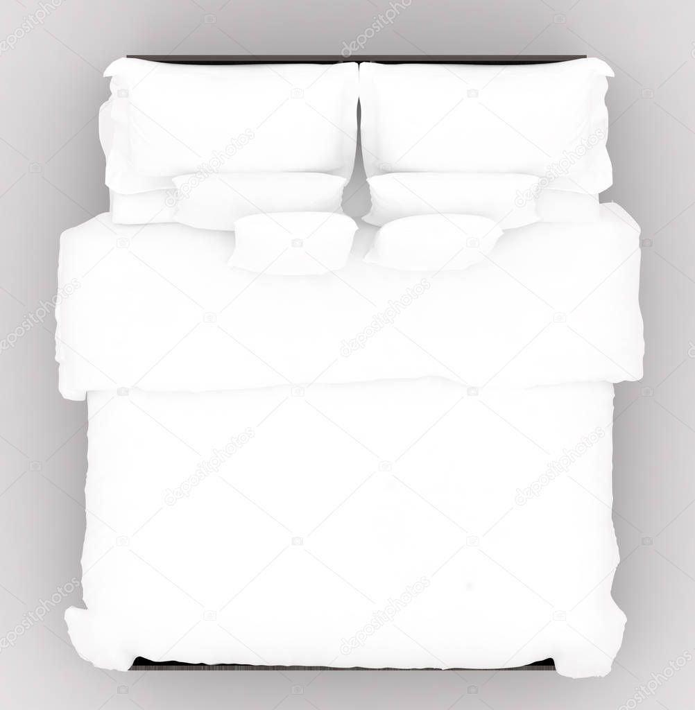 Bed with a soft mattress top view stock photo sumetho for Cama vista superior