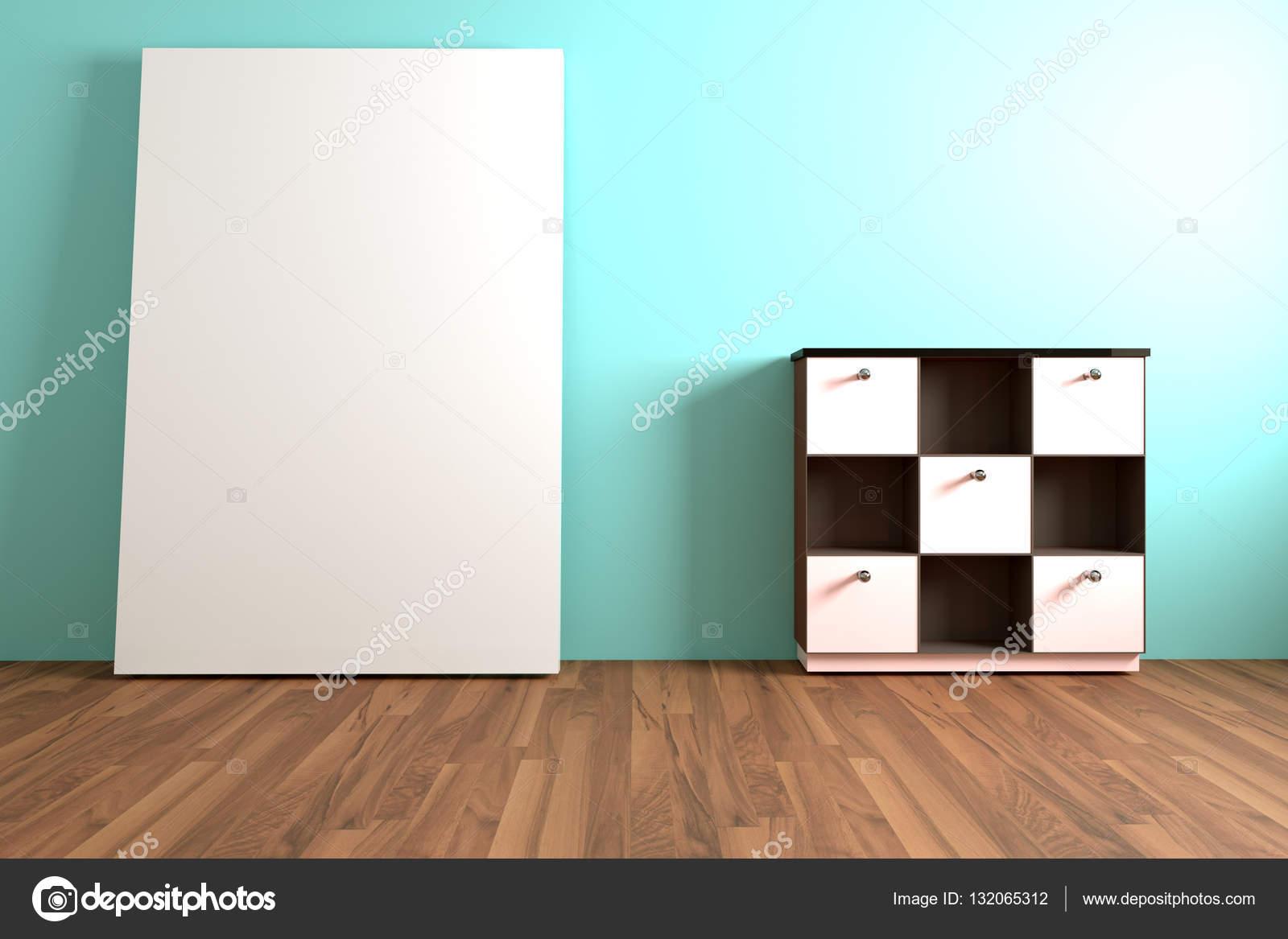Möbel Leer holz regal und weiße möbel mit weißen leer in leer stockfoto