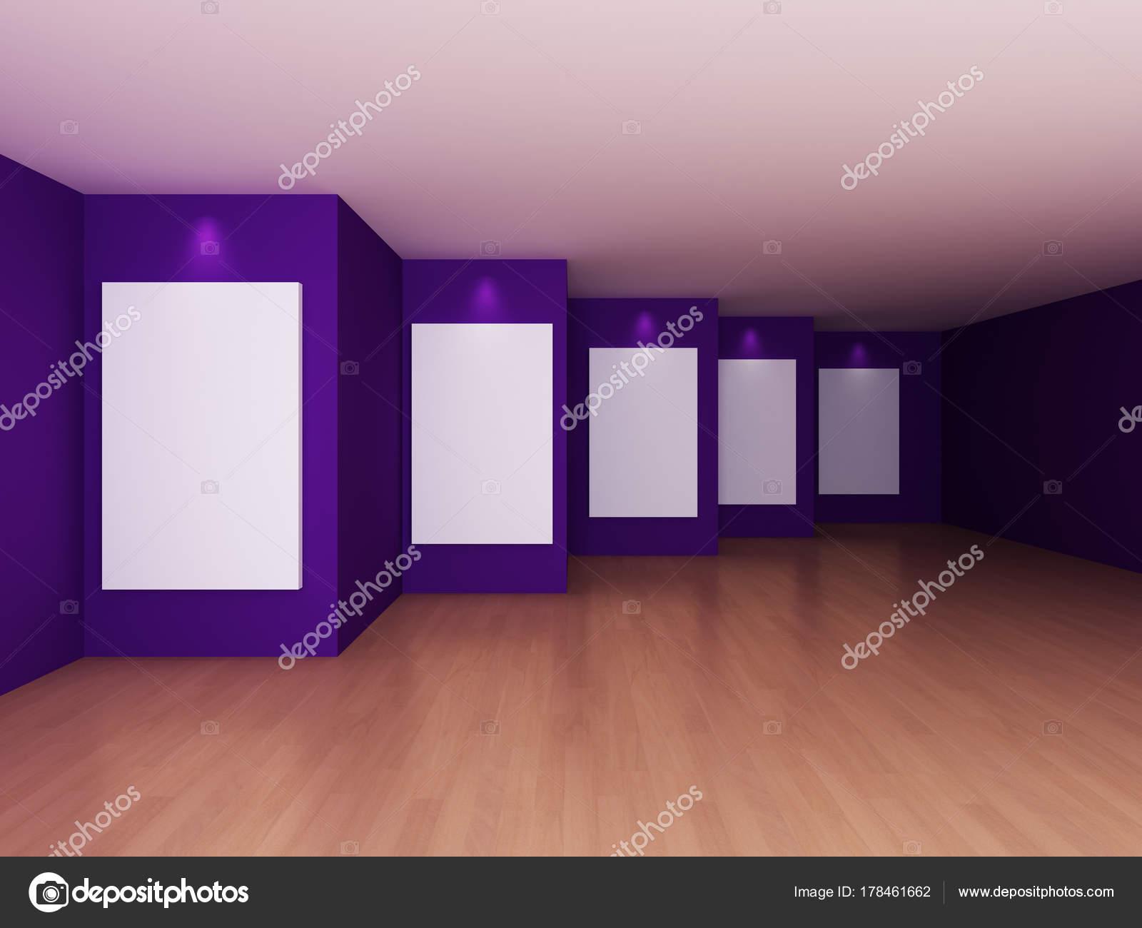 Leeren Raum Innenraum mit weißen Leinwand auf violette Farbe Wand ...