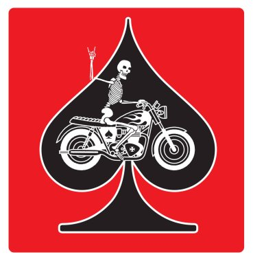 Ace of Spades with Skeleton Biker vector design