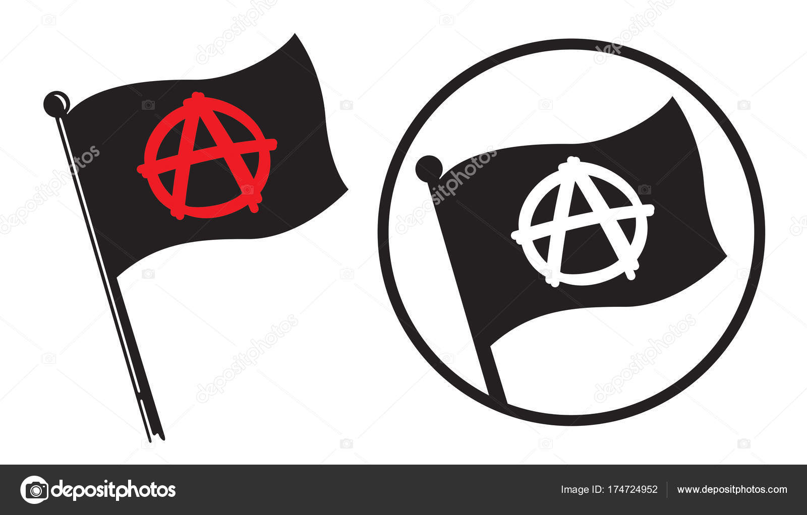 Anarchy Black Flag Icons Stock Vector Fiftyfootelvis 174724952