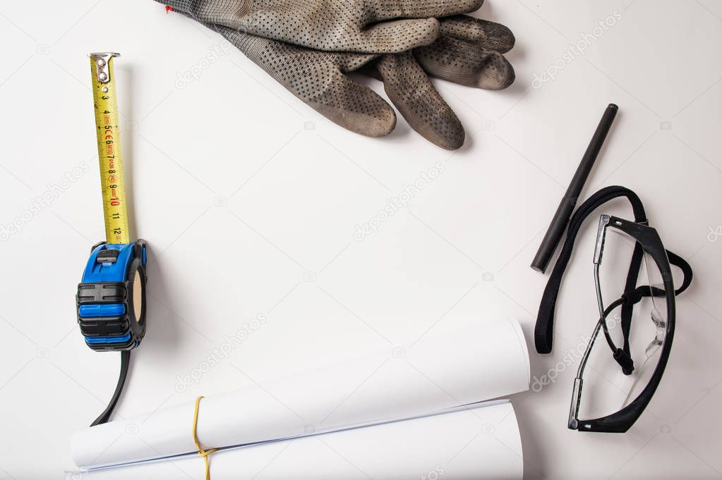 work objects, meter, glasses, gloves, pen