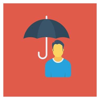Human Resource Flat icon vector illustration. businessman with umbrellar