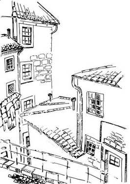 Sketch drawing of the old house with tile roof street view