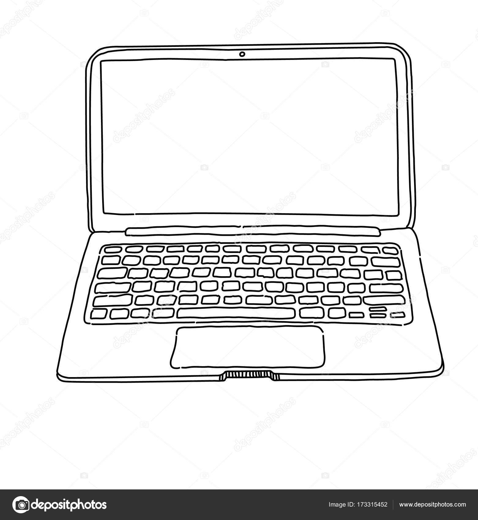 Sketch of laptop — Stock Vector © nasstep #173315452