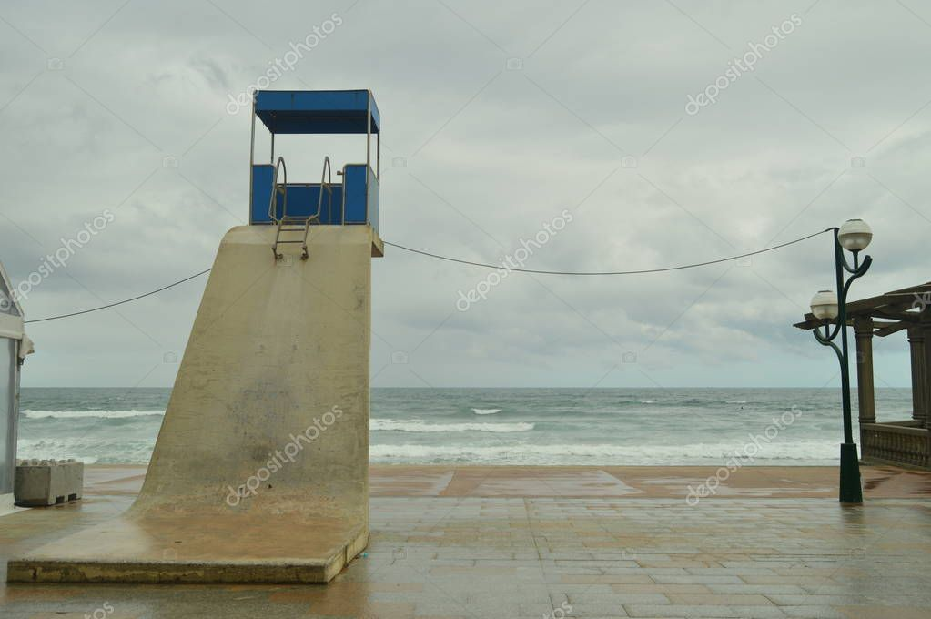 Beautiful Beach Of Zarauz With Its Picturesque And High Posts Of Lifeguards On A Rainy Day With Strong Wind Caused By The Temporary Hugo. Landscapes Travel Nature. March 26, 2018. Zarautz Guipuzcoa Basque Country Spain.