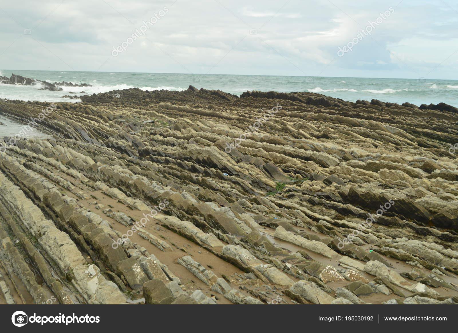 Geologische Formationen Strand Mit Abgang Auf Dem Meer Der Flysch