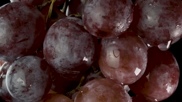 A wet bunch of grapes. The camera does a check out and vertical panorama