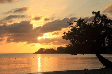 Sunset in Jamaica, Caribbean sea