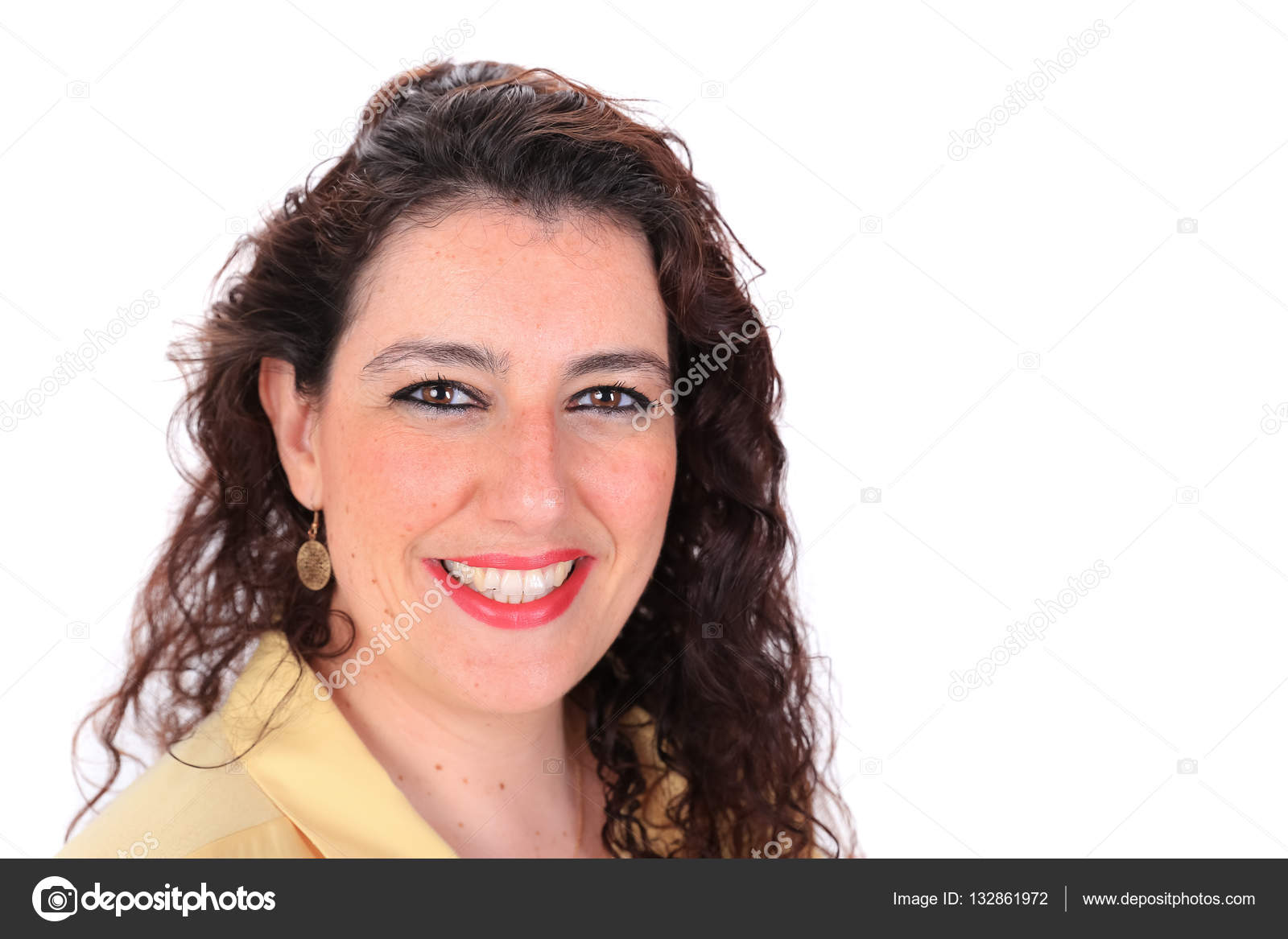 Face forward normal headshot of a Spanish woman with long ...