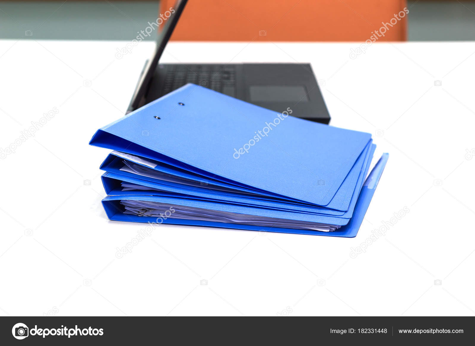 Blue File Folder Documents Notebook Background White Table Meeting