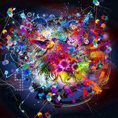 Fényképek madár és a virágok absztrakt színes háttérrel