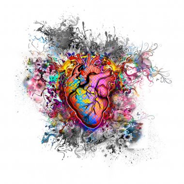 heart on colorful background