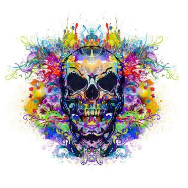 Colorful evil skull