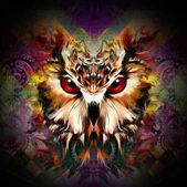 Photo Brown owl on colorful abstracted background